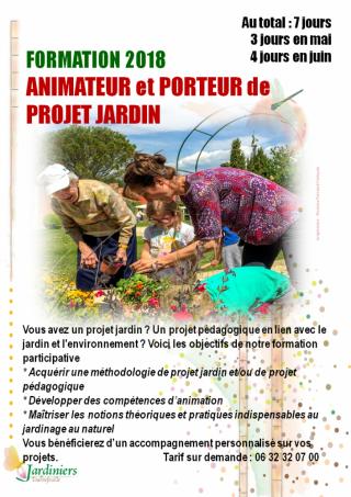 Formation animateur jardin et porteur de projet jardin